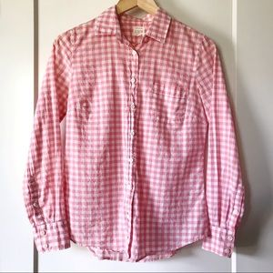 J.Crew Factory pink gingham button down shirt XS